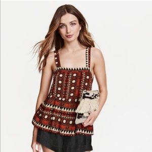 H&M Aztec Tribal Print  Top Size 2